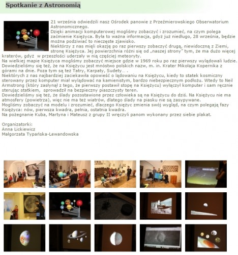 Astronomia dla dzieci na stronie Ośrodka Szkolno-Wychowawczego dla Dzieci Niesłyszących
